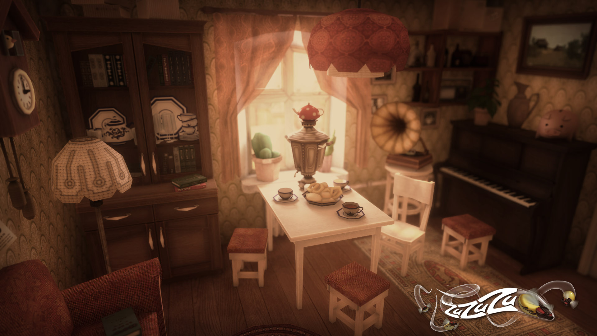 The living room in 3D. For ZuZuZu mobile game.