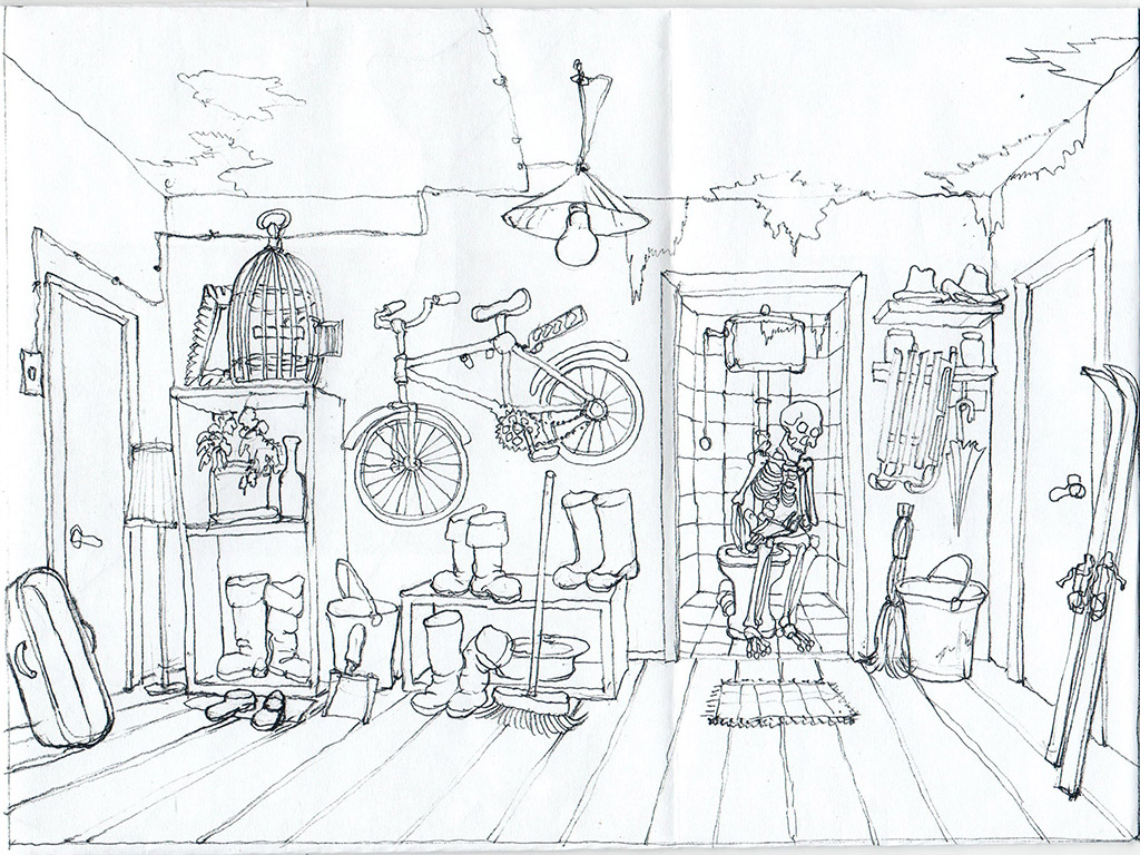 The entry room. The Ovcharenko's sketch for ZuZuZu mobile game.