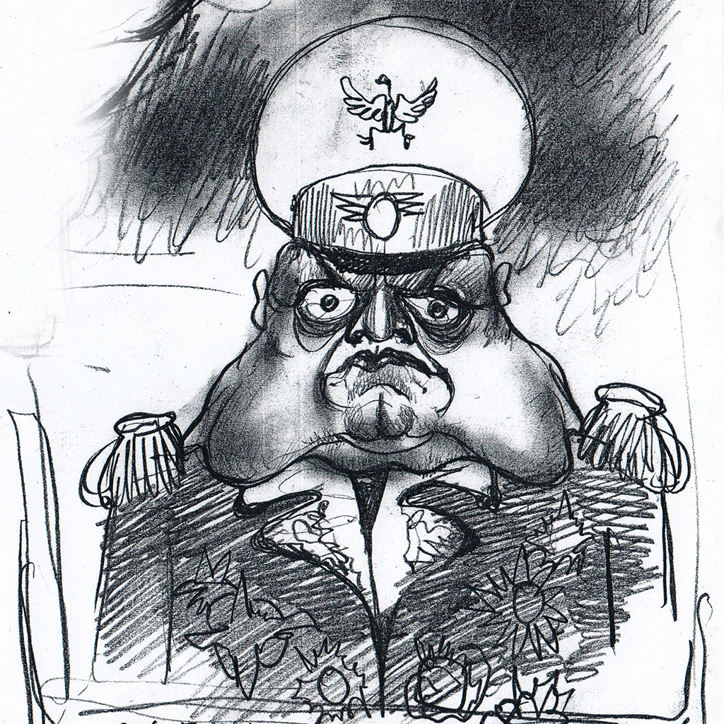 The portrait of unknown general. The Ovcharenko's sketch for ZuZuZu mobile game.