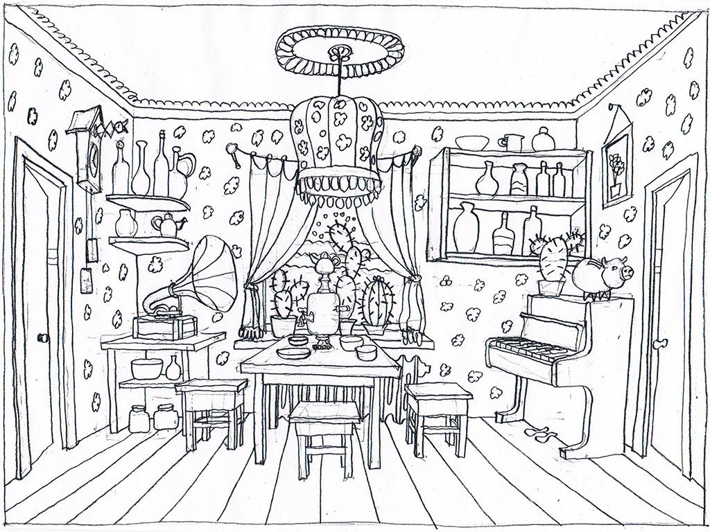 The living room. The Ovcharenko's sketch for ZuZuZu mobile game.