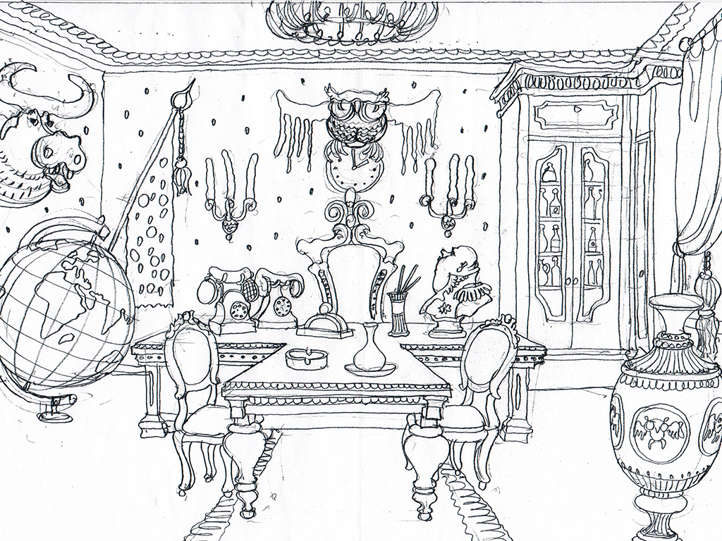 The chief's office. The Ovcharenko's sketch for ZuZuZu mobile game.