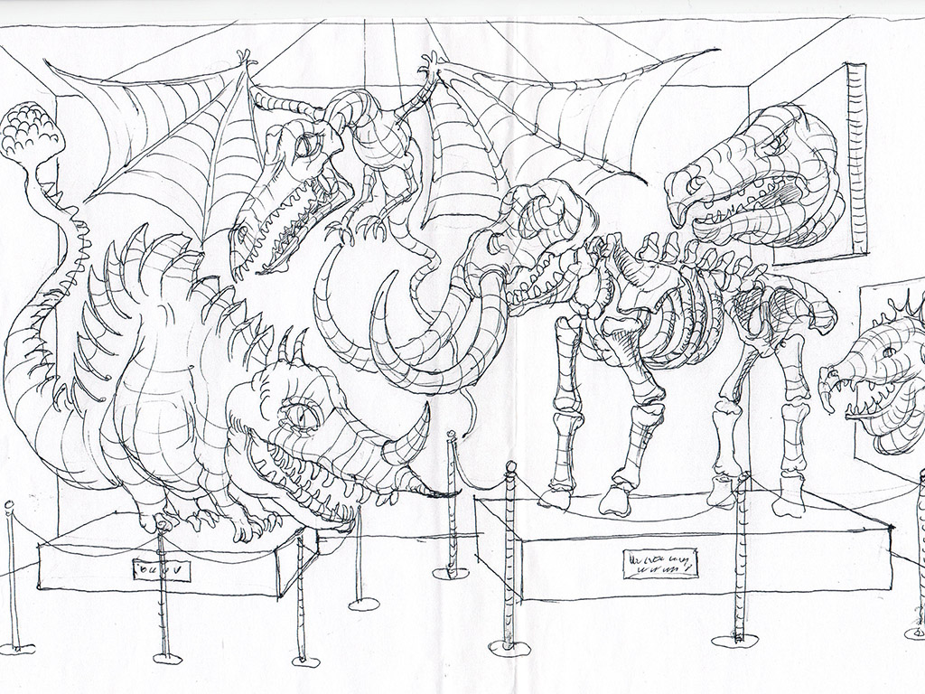 The paleontologic museum. The Ovcharenko's sketch for ZuZuZu mobile game.