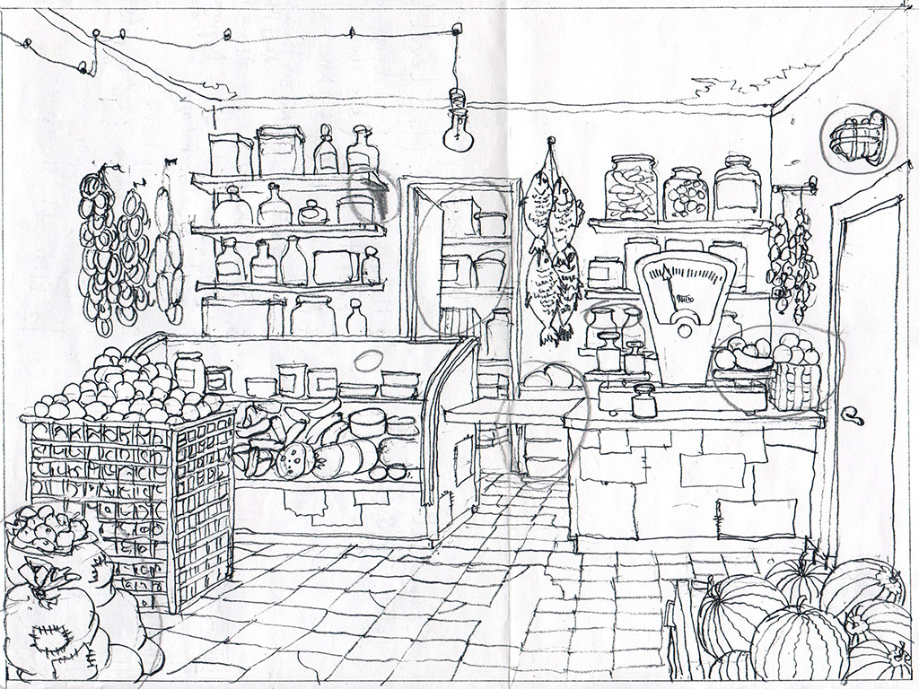 The Givi's food store. The Ovcharenko's sketch for ZuZuZu mobile game.