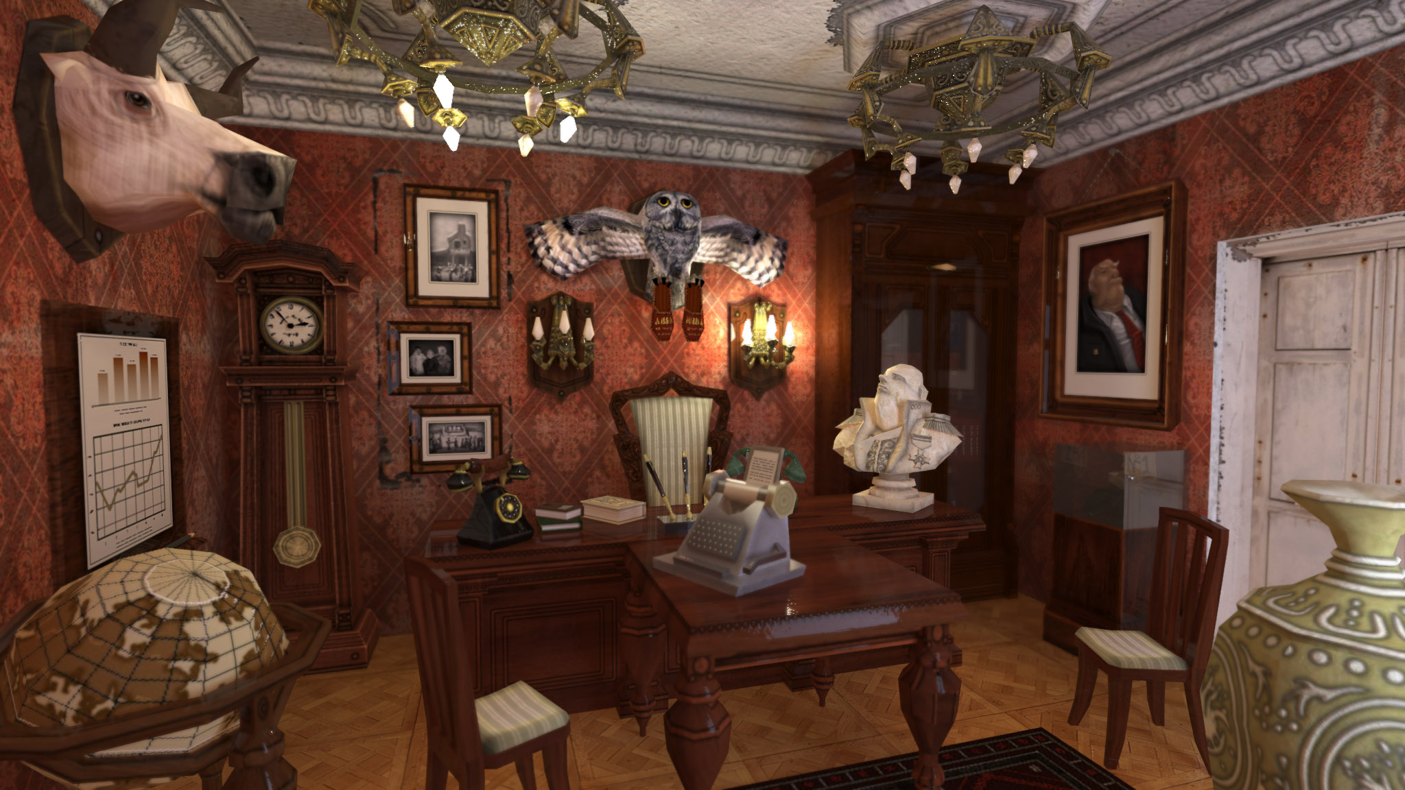 The chief's office in 3D. For ZuZuZu mobile game.