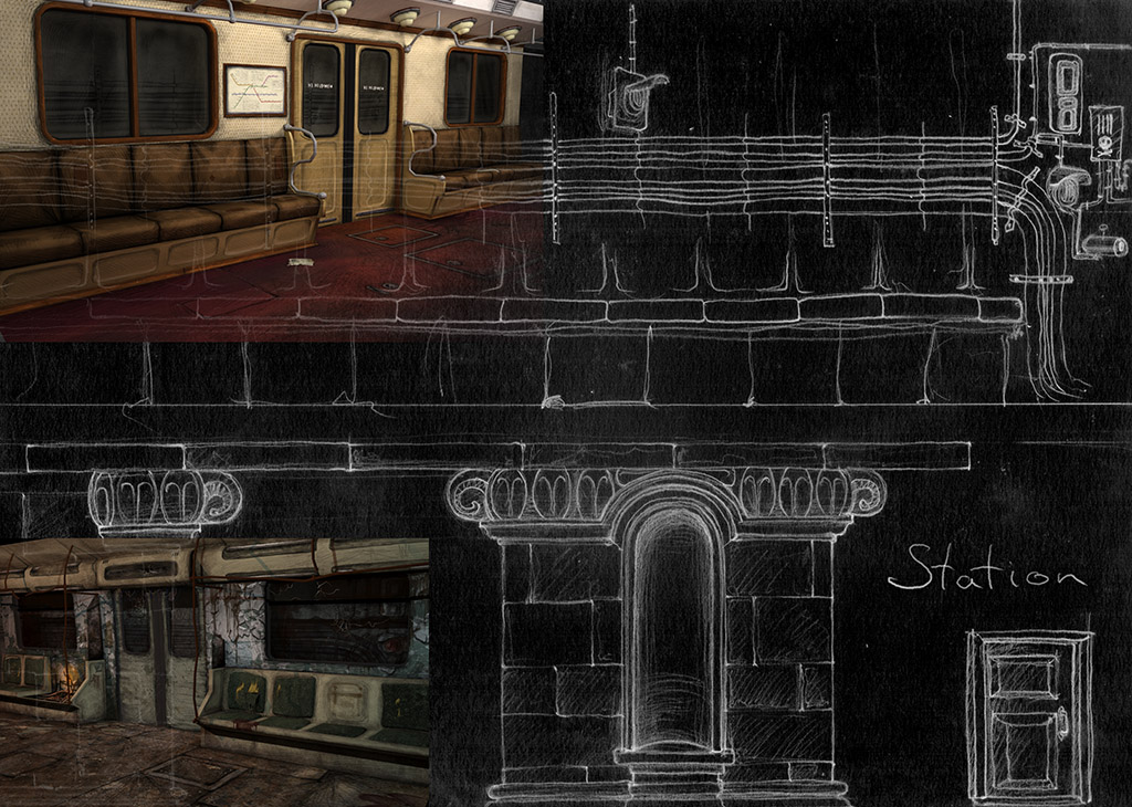 The elements of of the station and the interiors of the trains. Your Station game.