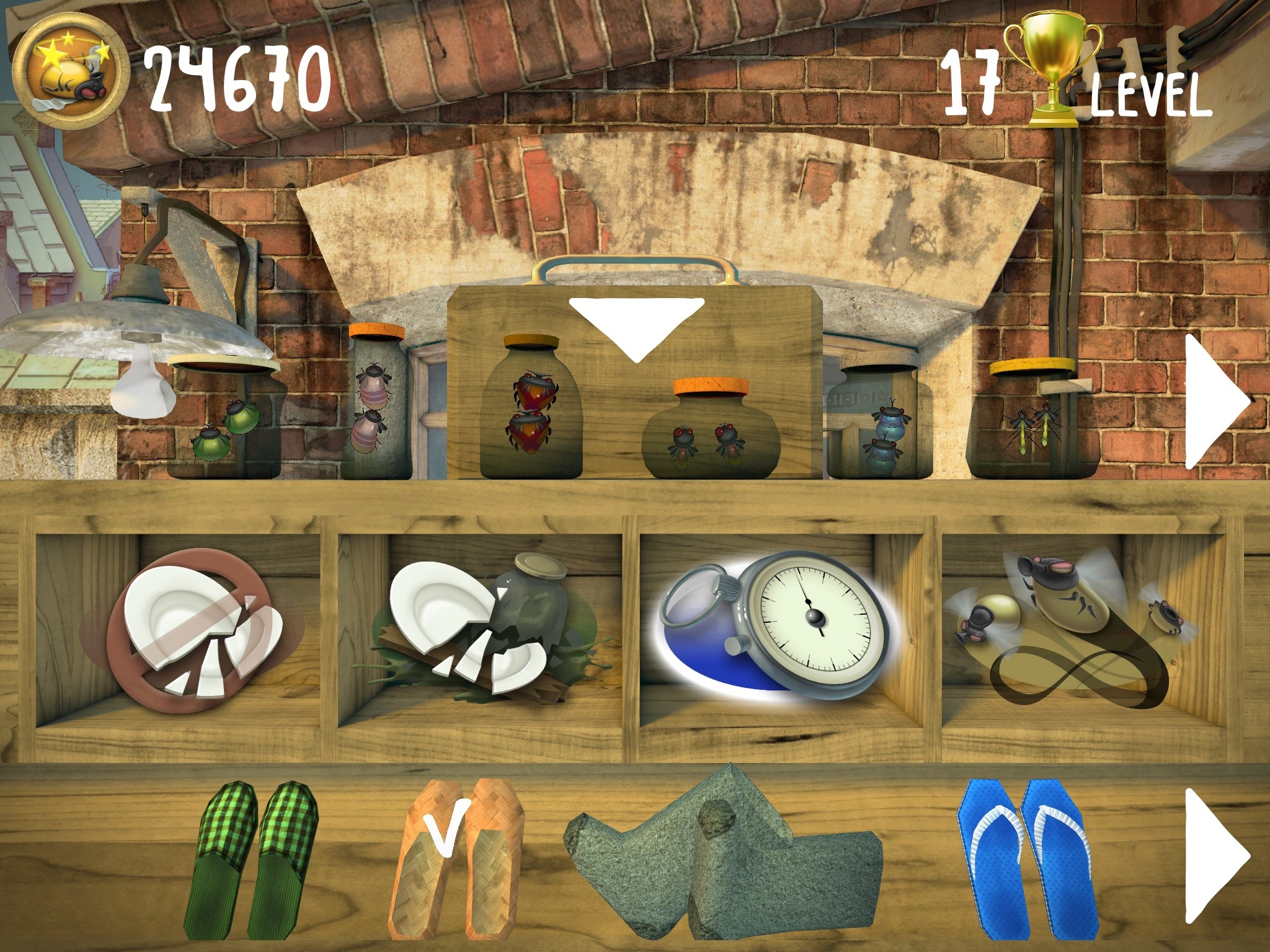 The shelf contains the collection of flies and different shoes. ZuZuZu game.